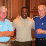 "Mike Murphy (son of Coach Billy ""Spook"" Murphy), University of Memphis Head Football Coach Larry Porter, and Bull"