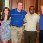 Rachel, Rebecca, and Don Bramlett, University of Memphis Head Football Coach Larry Porter, and Bull