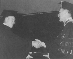 Dr. Sonny Humphreys, presenting my diploma from Memphis State University in May 1963.