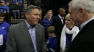 Bull and Nancy with Univ. of Memphis Athletic Director, Tom Bowen at the jersey retirement