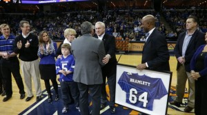 Presentation of retired jersey by the U of M Athletic Director, Tom Bowen and M-Club President, Dwight Boyd