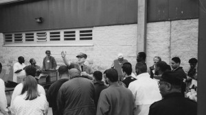 Giving an invitation during the prison crusade (1997)